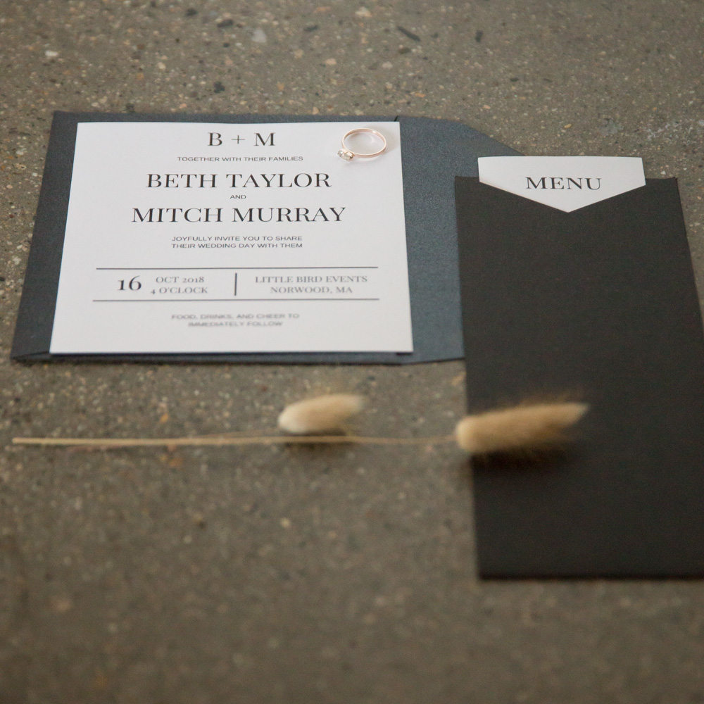 Black Flat Lay with wheat stalk of wedding invitation